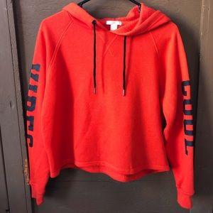 Orange Cool Vibes Crop top Hooded Sweater